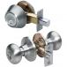 Master Lock Satin Nickel Biscuit Style Entry Door Lock w/Single Cylinder Deadbolt