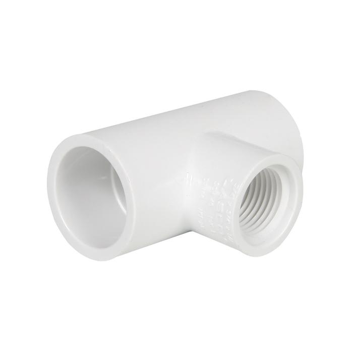 PVC Reducing Female Tee 3/4 in S x 3/4 in S x 1/2 in FIP