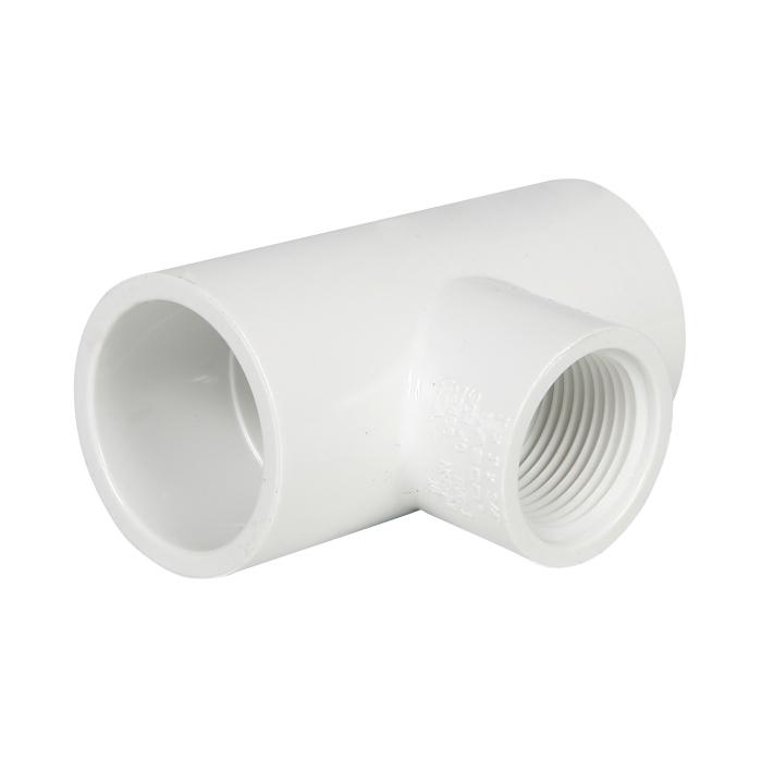 PVC Reducing Female Tee 1 in S x 1 in S x 3/4 in FIP