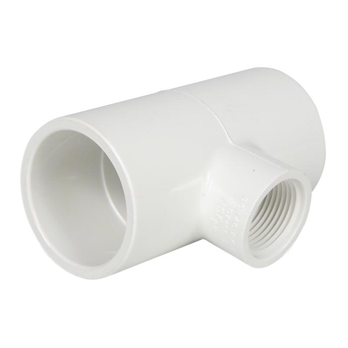 PVC Reducing Female Tee 1 1/4 in S x 1 1/4 in S x 3/4 in FIP