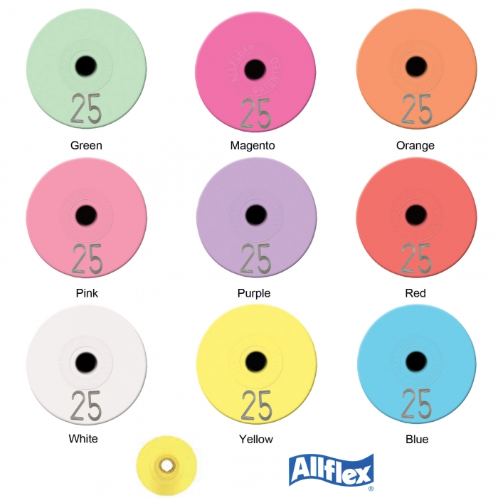 Allflex Round Button Ear Tag Set (Numbered) - 25/Bag
