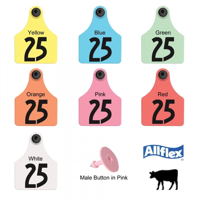 Allflex Global Large Tamperproof Beef and Dairy Ear Tag (Numbered) - 25/Bag