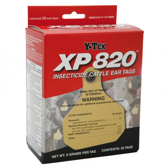 Y-Tex XP 820 Insecticide Cattle Ear Tag Box of 20 Tags