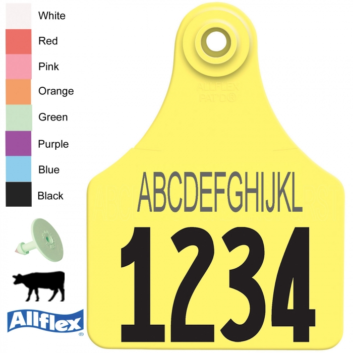 Allflex Global Large Beef and Dairy Ear Tags (Line of Text and Numbered) - 25/Bag (Line of Text and Numbered)