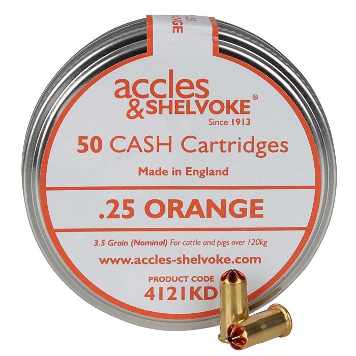Accles and Shelvoke .25 Caliber Orange 3.5 Grain Cartridges - 50/Tin