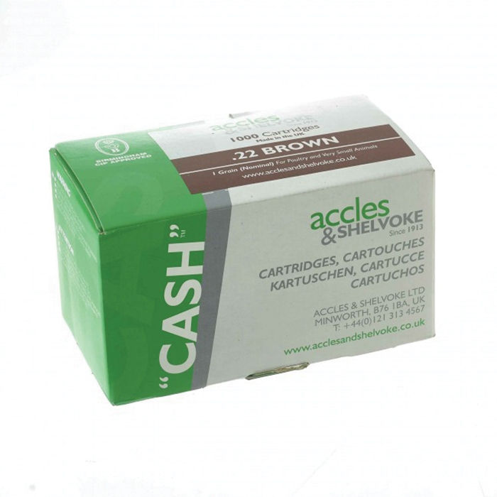 Accles and Shelvoke .22 Caliber Brown 1 Grain Cartridges - 1,000/Box