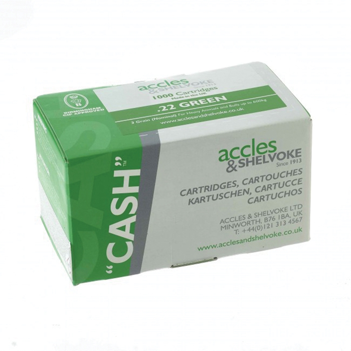 Accles and Shelvoke .22 Caliber Green 3 Grain Cartridges - 1,000/Box