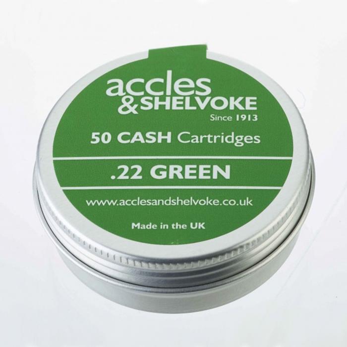 Accles and Shelvoke .22 Caliber Green 3 Grain Cartridges - 50/Tin