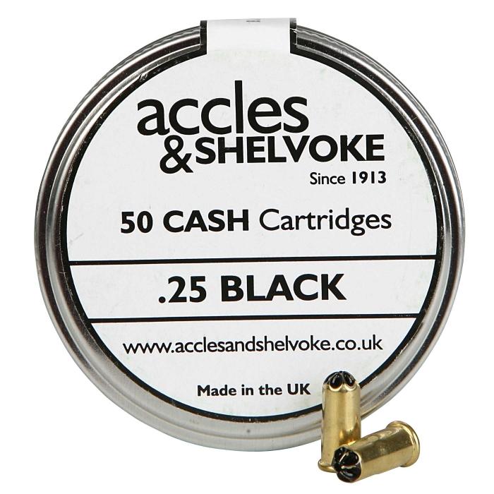Accles and Shelvoke .25 Caliber Black 4 Grain Cartridges - 50/Tin