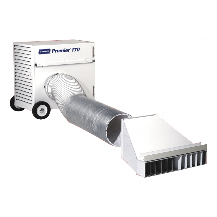 L.B. White End Diffuser (shown with heater and ducting)