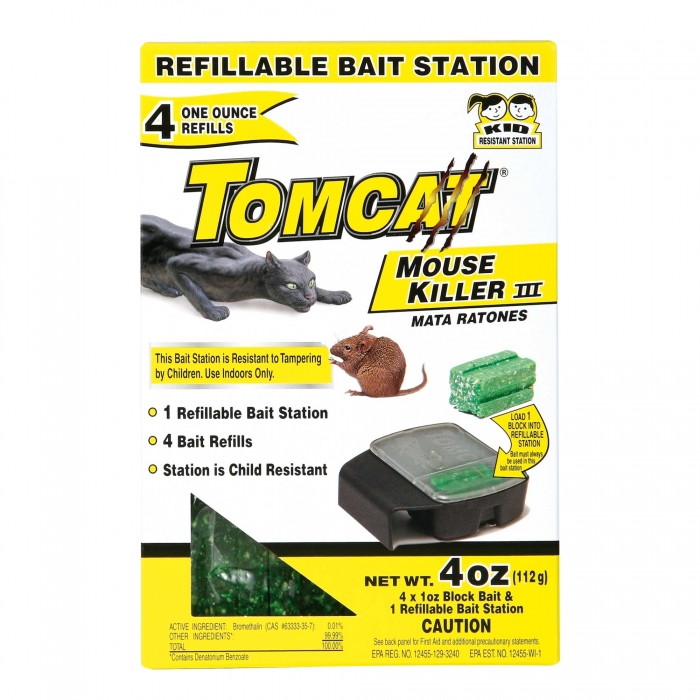 Motomco Tomcat - 4 x 1oz. Refillable Mouse Bait Station