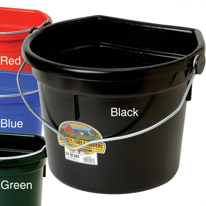 DuraFlex Plastic Flat Back Bucket - 22 Quart