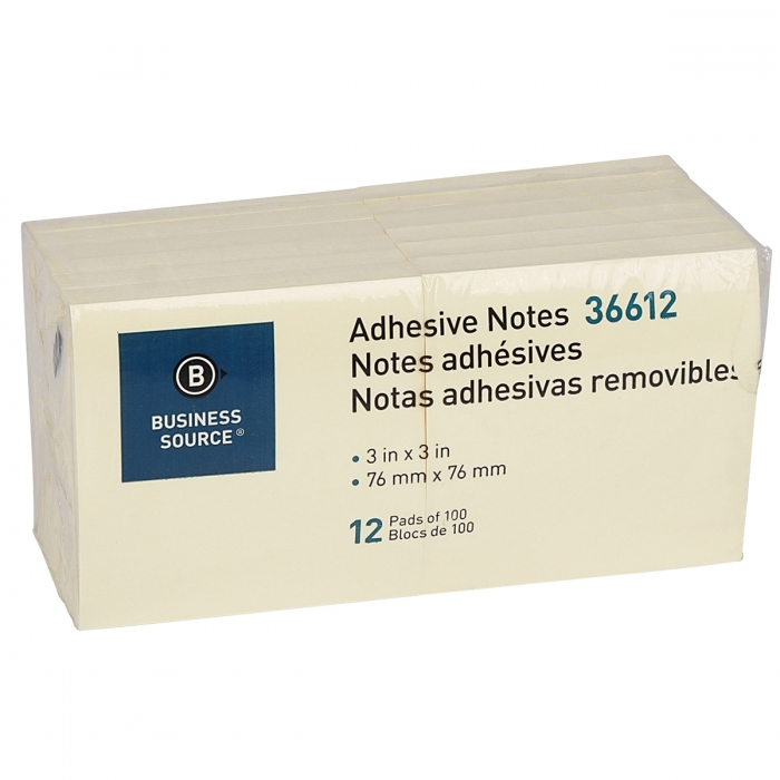 Business Source Adhesive Notes - 12 Pads
