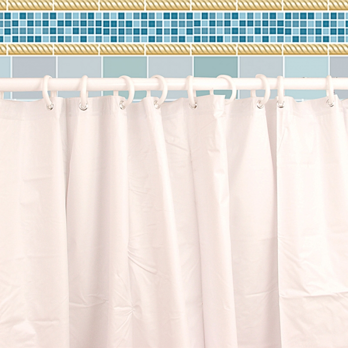 Easy Clean Shower Curtain - Shown with rod and rings