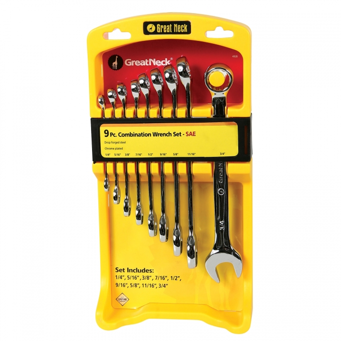 9 Piece SAE Combo Wrench Set 1/4