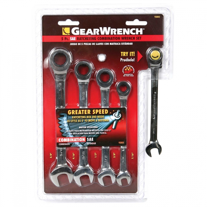 GearWrench 5-Piece SAE Ratcheting Wrench Set