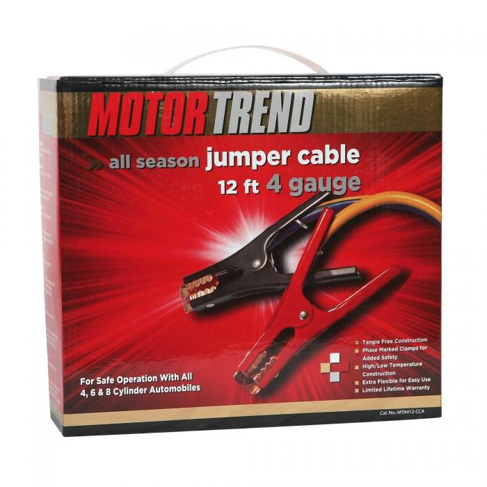 Motor Trend 12', 500 AMP 4 Gauge Jumper Cable