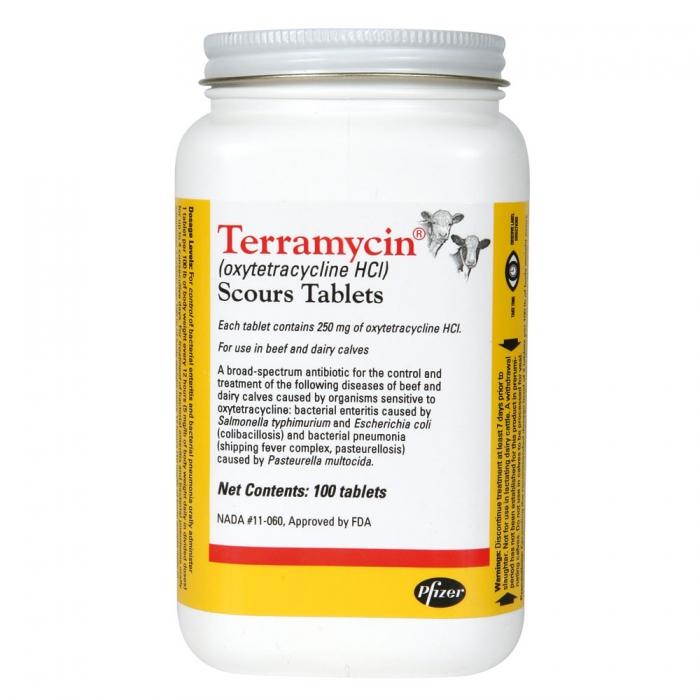 Terramycin Scour Tablets (Pfizer) - Bottle of 100 Tablets