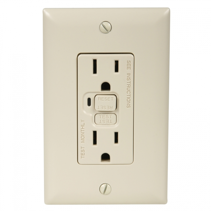 Wall Receptacles - 15 Amp GFCI - UL Listed - Shown with Wall Plate