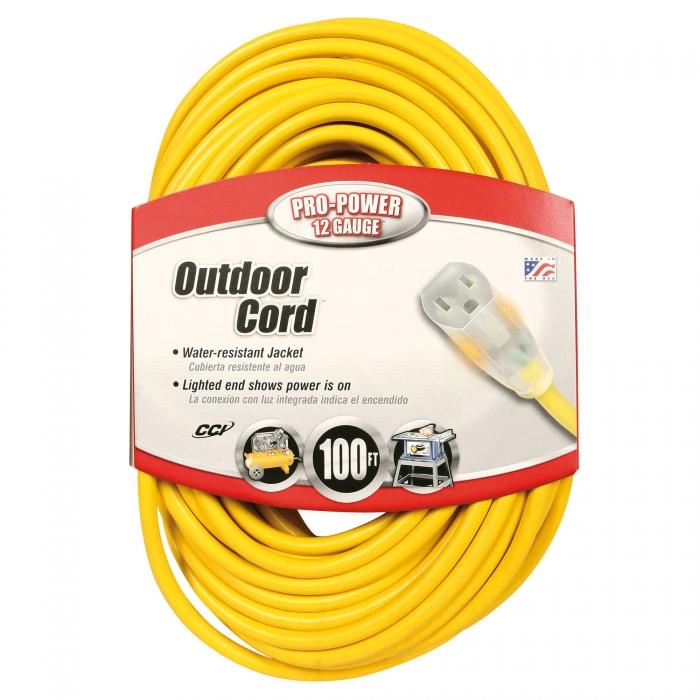 Indoor-Outdoor Extension Cords - 100 ft. Gauge (12/3)