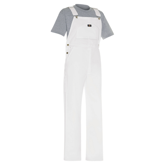 Dickies White Painters Bib Overalls - Front