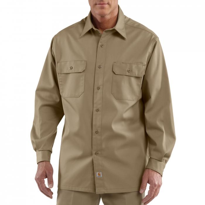 Carhartt Twill Long-Sleeve Work Shirt - Khaki