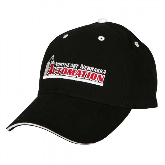 Low Profile Pro Sandwich Visor - Black/White shown with custom embroidery