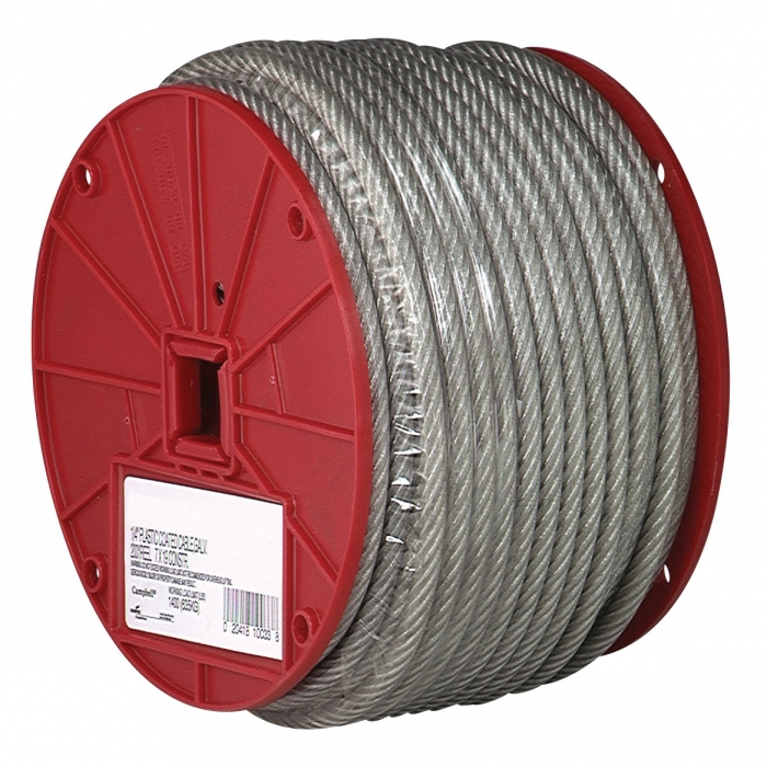 Campbell 3/32 inch 7x7 Cable, Clear Vinyl Coated to 3/16 inch