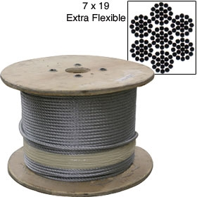 Galvanized Cable by THE ROLL - 7x19 - 5000 ft